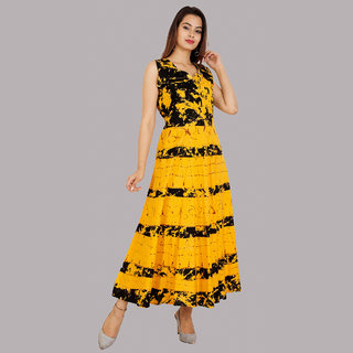UniqChoice Traditional Paisley printed Cotton Stitched Gown For Women's Maxi Long Dress Yellow Color( Free Size)