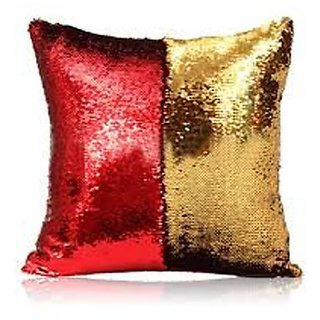 Kartik Cushion Cover Set of 1 Sequin Mermaid Throw Pillow Cover with Color Changing Reversible Paulette Pillow GolRed