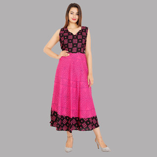 8221be1a7 Buy UniqChoice Traditional Paisley printed Cotton Stitched Gown For Women's  Maxi Long Dress Pink Color( Free Size) Online - Get 73% Off