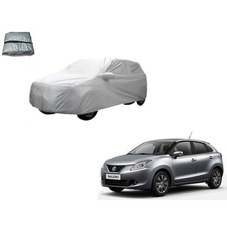 Auto Addict Silver Matty Body Cover with Buckle Belt For Maruti Suzuki Baleno Nexa