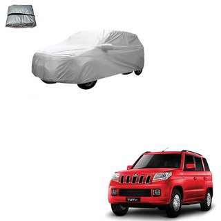 Auto Addict Silver Matty Body Cover with Buckle Belt For Mahindra TUV-300