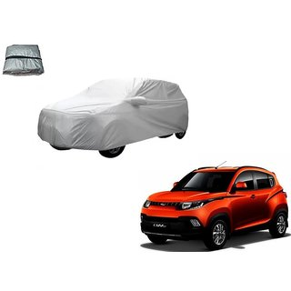 Auto Addict Silver Matty Body Cover with Buckle Belt For Mahindra KUV 100