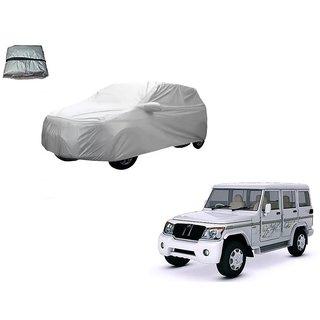 Auto Addict Silver Matty Body Cover with Buckle Belt For Mahindra Bolero XL