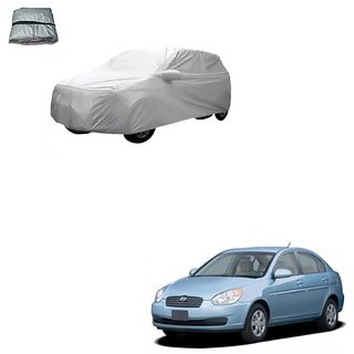 Auto Addict Silver Matty Body Cover with Buckle Belt For Hyundai Old Verna