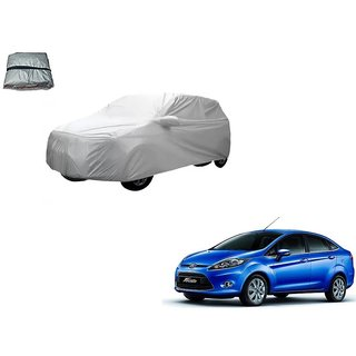 Auto Addict Silver Matty Body Cover with Buckle Belt For Ford Fiesta