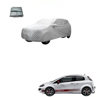 Auto Addict Silver Matty Body Cover with Buckle Belt For Fiat Abarth