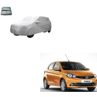 Auto Addict Silver Matty Body Cover with Buckle Belt For Tata Tiago