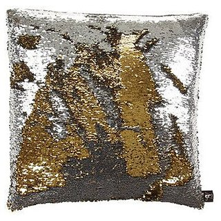 Kartik Cushion Cover 16x16 Set of 1 Sequin Mermaid Throw Pillow Cover with Color Changing Reversible Paulette GolSilver