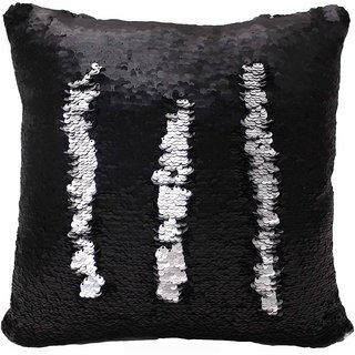 Kartik Stylish Sequin Mermaid Throw Pillow Cover with Magical Color Changing Reversible Paulette Design Decor BlkSil