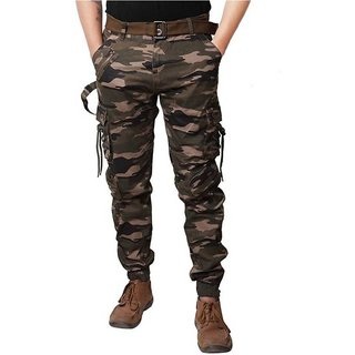 Men's Multicolor Embellished Cotton Regular Fit Cargo Pant