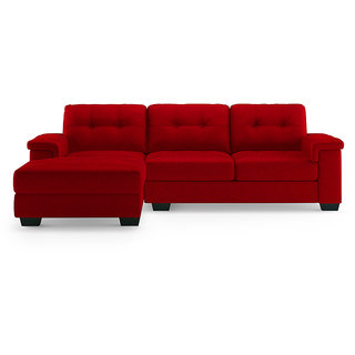 houzzcraft Orient L shape sofa in red