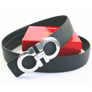 Silver Buckle Belt Imported Leather Belt Party Wear / Casual Wear For men Fashionable Imported Belt (Synthetic leather/Rexine)