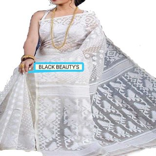 Wooden Tant Dhakai Jamdani saree