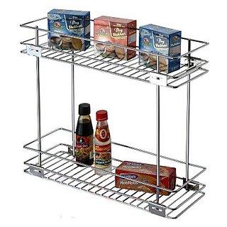 Rwood double pullout modular kitchen basket size 8x20x17 inch- kitchen storage basket - kitchen drawer
