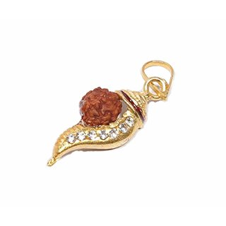 9306e06fc737f Gold Plated Rudraksh shankha Conch Shell Design Simple and Sober Pendant  with Chain Men and Women