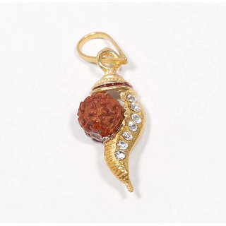 Gold Plated Rudraksh shankha Conch Shell Design Simple and Sober Pendant  with Chain Men and Women