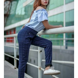 Best Seller Imported Blue Color Check's Stretchable Pants / Jeggings /Gym Wear /Yoga Wear /Casual Wear /Sport's Wear