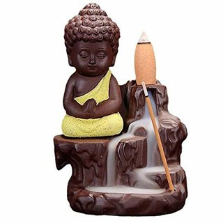Oanik Meditating Monk Buddha Smoke Backflow Cone Decorative Incense Holder (7 cm x 7 cm x 12, Green)