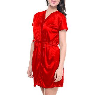Riya red Satin robes free size or night dress nightwear