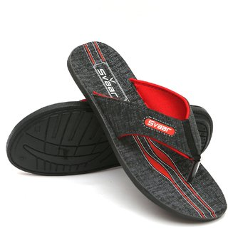 Svaar Men's Red and Grey Faux Leather Slippers