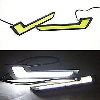 DELHITRADERSS 12V COB Car Styling L Shaped LED DRL Bright Daytime Running Light Car Fog Light