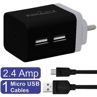 Pinnaclz Combo of Dual USB 2.4 Amp Wall Charger (Black-Grey) + 3 Feet Sync  Charge Micro USB Data Cable 2.4 Amp