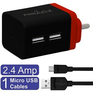 Pinnaclz Combo of Dual USB 2.4 Amp Wall Charger (Black-Red) + 3 Feet Sync  Charge Micro USB Data Cable 2.4 Amp