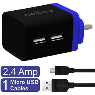 Pinnaclz Combo of Dual USB 2.4 Amp Wall Charger (Black-Blue) + 3 Feet Sync  Charge Micro USB Data Cable 2.4 Amp