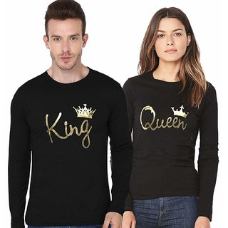 Melcom Black Plain King and Queen Printed Full Sleeves Round Neck Cotton Blend Casual T-Shirts (Pack of 2)