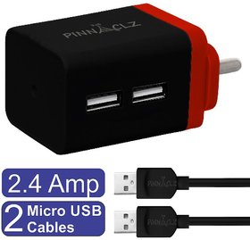 Pinnaclz Combo of Dual USB 2.4 Amp Wall Charger (Black-Red) + 2 pcs 3 Feet Sync  Charge Micro USB Data Cable 2.4 Amp