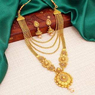 Sukkhi Alloy Gold Plated Australian Diamond Wedding Necklace Set For Women