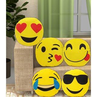A K TRADERS (set of 5) Round Emoji Emoticon Cushion Soft Pillow Stuffed Plush Toy