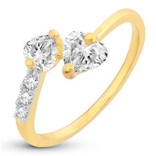 Sukkhi Resplendent Crystal Heart Cut Adjustable Gold Plated Ring for women