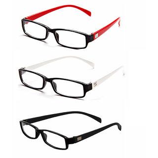 MagJons Red,White, Black Rectangle Unisex spectacles eye wear frame - Combo Of 3
