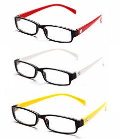 MagJons Red,White,Yellow Rectangle Unisex spectacles eye wear frame - Combo Of 3