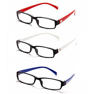 MagJons Red,White, Blue Rectangle Unisex spectacles eye wear frame - Combo Of 3