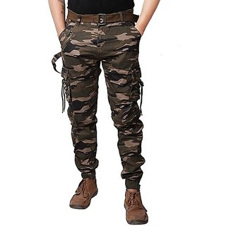 Xee Multicolor Self Design Cotton Mid Rise Regular Fit Casual Cargo For Men