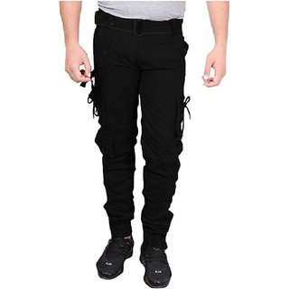 Xee Men's Black Regular Fit Cargo