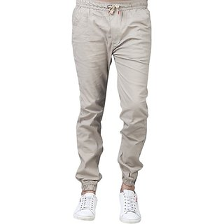Xee Beige Regular Fit Trousers For Men