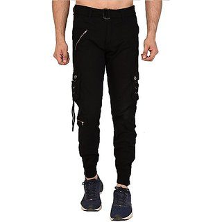 Xee Men Black Regular Fit Mid Rise Cargo