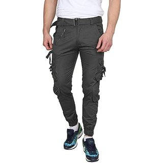 Xee Grey Regular Fit Cargo/Trousers For Men