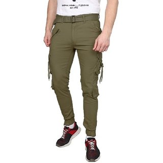 Xee Men's Regular Fit Green Cargo