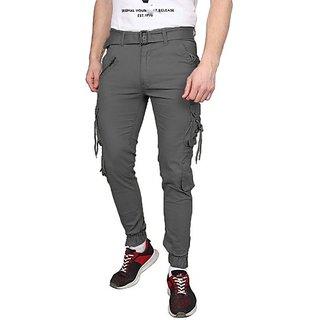 Xee Grey Regular Fit Cargo/Trousers For Men