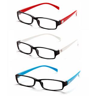 MagJons Red,White, Light blue Rectangle Unisex spectacles eye wear frame - Combo Of 3