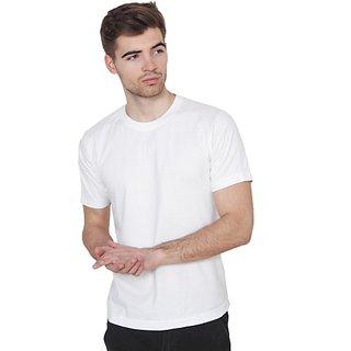 Xee Solid Men's Round Neck White T-Shirt