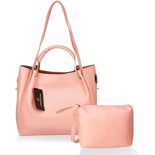 Clementine Women's Synthetic Texas Handbag with Sling Bag Combo (Baby Pink)