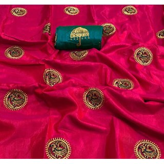 Oxza Women's Pink Color Sana Silk Saree With Unstiched Blouse Piece (s-129)
