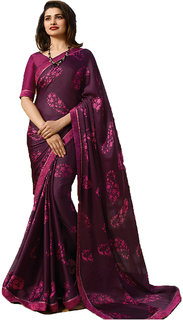 Indian Style Sarees New Arrivals Women'sPurple Georgette Printed Party Saree With Blouse Bollywood Latest Designer Saree