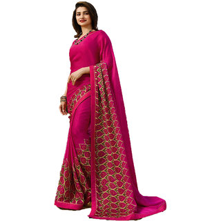Indian Style Sarees New Arrivals Women's Pink Georgette Printed Party Saree With Blouse Bollywood Latest Designer Saree