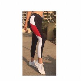 Side White Red White Combo Block Stripe Stretchable Leggings / Gym Wear /Yoga Wear /Running Wear